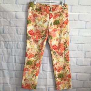 Anthro Cartonnier Tan Floral Cropped Pants